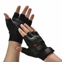 Men Black PU Leather Weight Lifting Gym Gloves Workout Wrist Wrap Sports Exercise Training Fitness black one size
