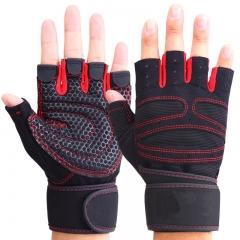 Half Finger Gloves Weight Lifting Gloves Wrist Gym Training Fingerless Weightlifting Sport Gloves red s