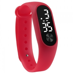 Fashion Casual Sports Bracelet Watches White LED Electronic Digital Candy Color Silicone Wrist Watch red one size