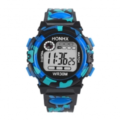 Multifunction Chidren Digital Watches Boys Girls Child Rubber Sports Electronic Wrist Watch Kids blue one size