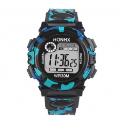 Multifunction Chidren Digital Watches Boys Girls Child Rubber Sports Electronic Wrist Watch Kids black one size