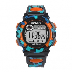 Multifunction Chidren Digital Watches Boys Girls Child Rubber Sports Electronic Wrist Watch Kids orange one size