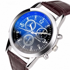 Mens Roman Numerals Blue Ray Glass Watches Men Luxury Leather Analog Quartz Business WristWatches blue one size