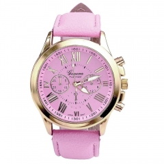 Roman Watches Women Clock Geneva Leather Strap Analog Quartz Watch Ladies Casual Pink Wrist Watches pink one size