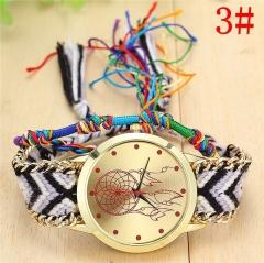 Handmade Braided Dreamcatcher Bracelet Watch Ladies Rope Watch Quarzt Watches Relogio Feminino c one size