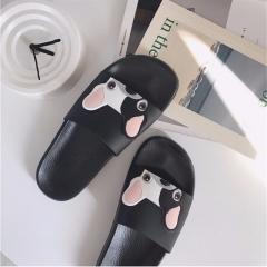 Cute Dog Cartoon Women Pu Leather Beach Shoes Women Flat Heels Flip Flops Barefoot Slippers Mujer a 36