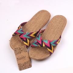 Flax Home Slippers Indoor Floor Shoes Cross Belt Silent Sweat Slippers For Summer Women Sandals a 5