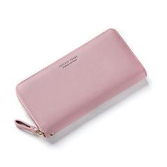 New women's wallet simple fashion long zipper phone bag Korean version of the wild popular clutch pink a