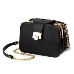 Fashion wild chain bag trendy soft zipper double bag single shoulder Messenger bag handbag black a