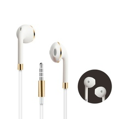 General smart phone iphone6S plus headset metal wire controlled with wheat heavy bass ear earplug white+pink