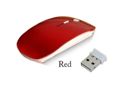 2.4G Wireless Mouse 1600 DPI USB Optical Wireless Computer Mouse 2.4G Receiver Super Slim Mouse Red one size