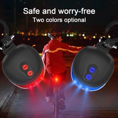 Bike Cycling Lights Waterproof 5 LED 2 Lasers Bike Taillight Safety Warning Bicycle Rear Light Blue