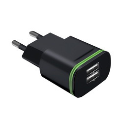 5V 2A Wall Adapter Mobile Phone Micro Data Charging EU Plug 2 Ports LED Light USB Charger Black