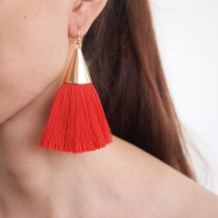 Fashion Jewelry Boho Tassel Earrings Women Brightness Gold Color Alloy Wide Fringed Drop Earrings 1 one size