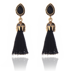 Long Earrings Tassel Earrings Fashion Jewelry for Women Black And Red Colors Female Gifts black one size