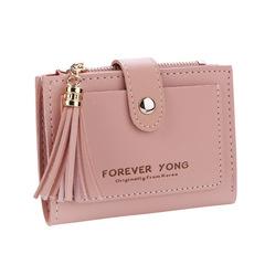 Fashion Short magical Wallet Simple Retro Letters Solid color Purse Coin Purse Change Purse pink a