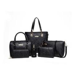 New Spring Nationality Chinese Fengzi Mother's Bag Six-piece Set Rose Single Shoulder Handbag black a