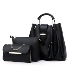 women's bag pure color fashionable beads of European and American style handbags and shoulder bags black a