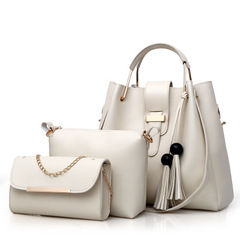 women's bag pure color fashionable beads of European and American style handbags and shoulder bags white a