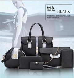Autumn and Winter New European and American Bag One Shoulder Hand-held Span Six-piece Set Womens Bag black a