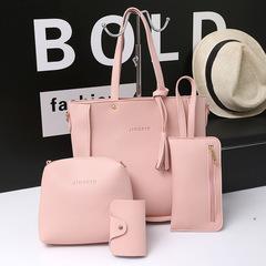 2018 new fashion rivet four-piece mother bag shoulder bag big bag slung female bag pink a