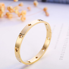 Pentagonal Star Hollowed-out Titanium Steel Bracelet Rose Gold Furnace Gold Non-fading Bracelet gold a