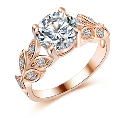 Wedding Crystal Silver Color Rings Leaf Engagement Cubic Zircon Ring Fashion For Women Jewelry gold 6