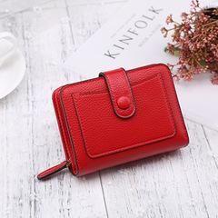 Fashion Women Wallet Short Purses PU Leather Credit card Holder Solid Zipper Bag carteira wallet red a