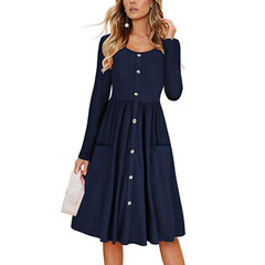 Solid color round neck long sleeve pocket tunic button dress female s blue