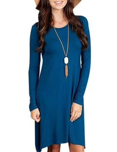 European and American autumn and winter new solid color round neck long sleeves long hem dress s blue
