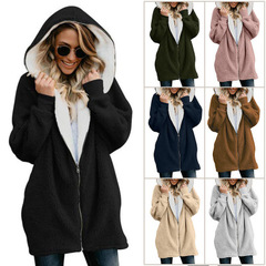 New hooded zipper cardigan fur coat plush sweater 1 s