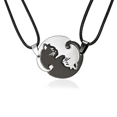 Rinhoo Couple Jewelry Black White Couple Necklace Titanium Steel Animal Cat Pendants Necklace 1 one size