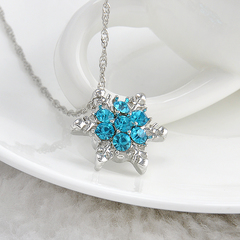 Vintage lady blue crystal snowflake Zircon flower and pendants silver necklaces Christmas jewelry 1 one size