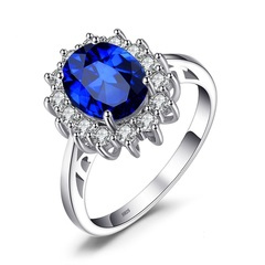 Jewelry 3.2ct Created Blue Sapphire Engagement 925 Sterling Silver Ring Silver Jewelry Ring silver 5 number