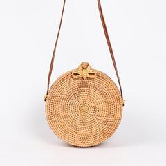 Round Straw Bags Women Summer Rattan Bag Handmade Woven Beach Cross Body Bag Circle Bohemia Handbag khaki one size