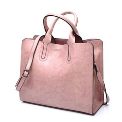 leather handbags Women High Quality large bag casual bags Women Bag Brand Trunk large Shoulder Bag pink one size