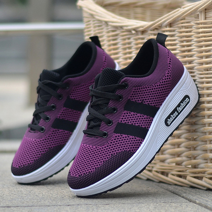 new woven thick bottom increased shoes sports style ladies single shoes wild comfortable casual shoe purple 36