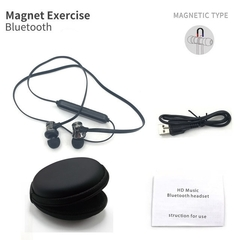 Motion wireless bluetooth headset anti-perspiration magnetic headsets stereo headphones black+box
