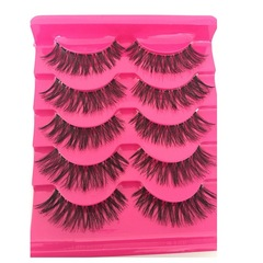 New handmade 5 pairs of false eyelashes Natural long transparent stems Eyelashes 5 pairs a