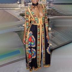 Deep V high waist split fork long skirt national wind print dress female Dresses s black