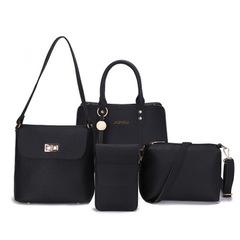 New wave European and American fashion handbags shoulder diagonal Messenger bag four-piece handbags black one size
