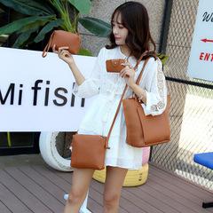 New fashion shoulder bag shoulder bag lychee pattern four-piece mother bag  front pocket handbag brown one size