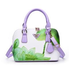 New trend printing shell bag European and American fashion handbags shoulder diagonal handbags green one size