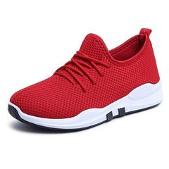 New popular style 2018 leisure sports shoes fly woven top breathable running shoes red 39