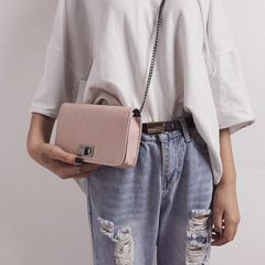 women's bag cloth twist lock small bag solid color simple Japanese and Korean chain single shoulder pink one size