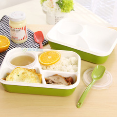 Student compartment plastic lunch box lunch box set plate children cartoon can microwave lunch box green one size