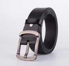 Leather belt Kaka Benin brand pin buckle Japanese word deduction casual retro tide men's belt black one size