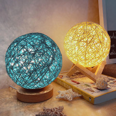 New strange bedroom led table lamp bedside lamp USB night light rattan ball decoration pink The bottom seat does not include plug. a