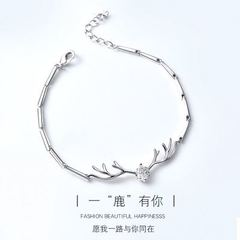 All the way with your bracelet, female antler chain, Japanese and Korean student best friend jewelry silver one size