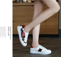Embroidered flowers white shoes women's wild casual shoes with sports shoes shoes red 36